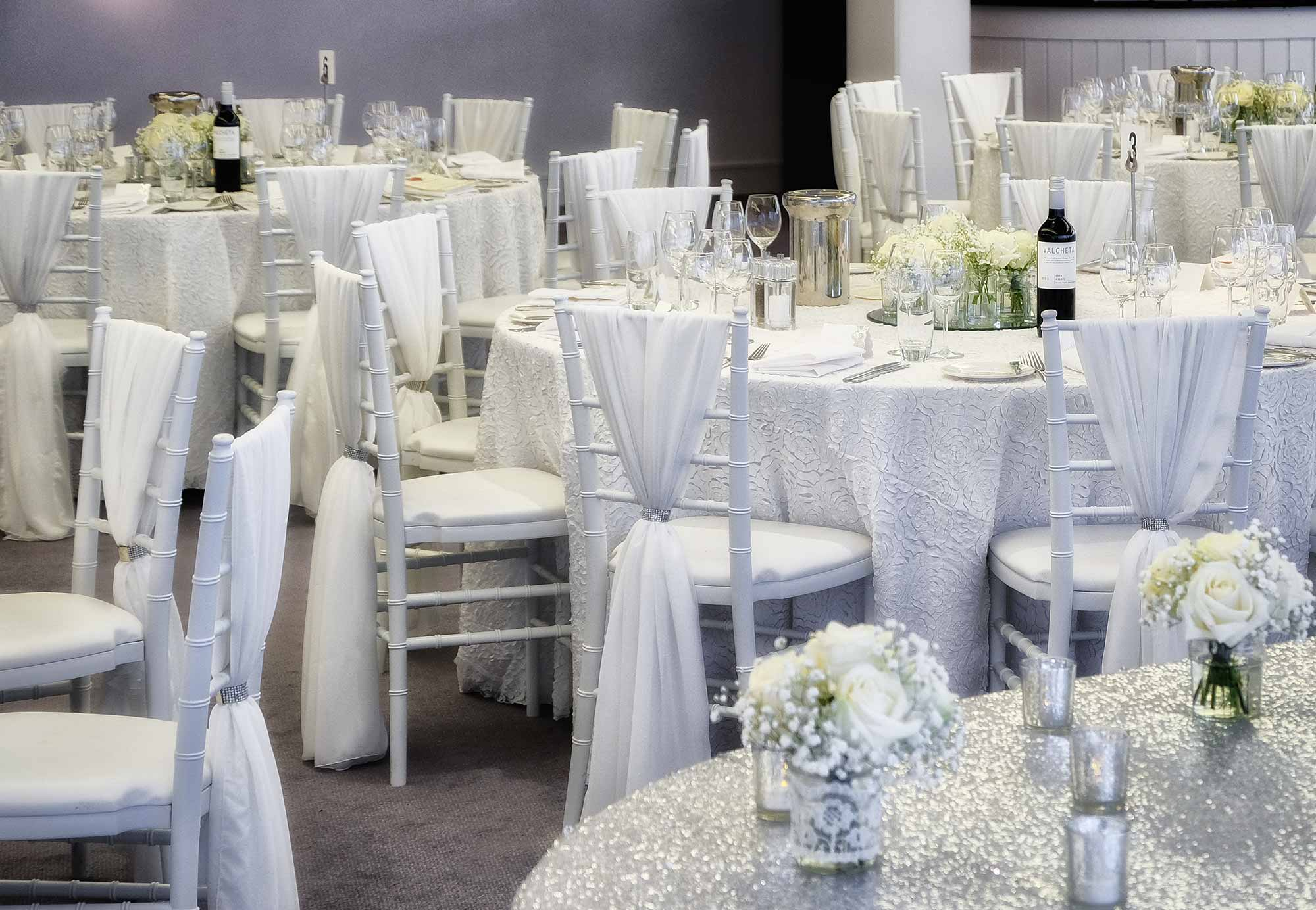 White chiavari chairs at Hampton Court