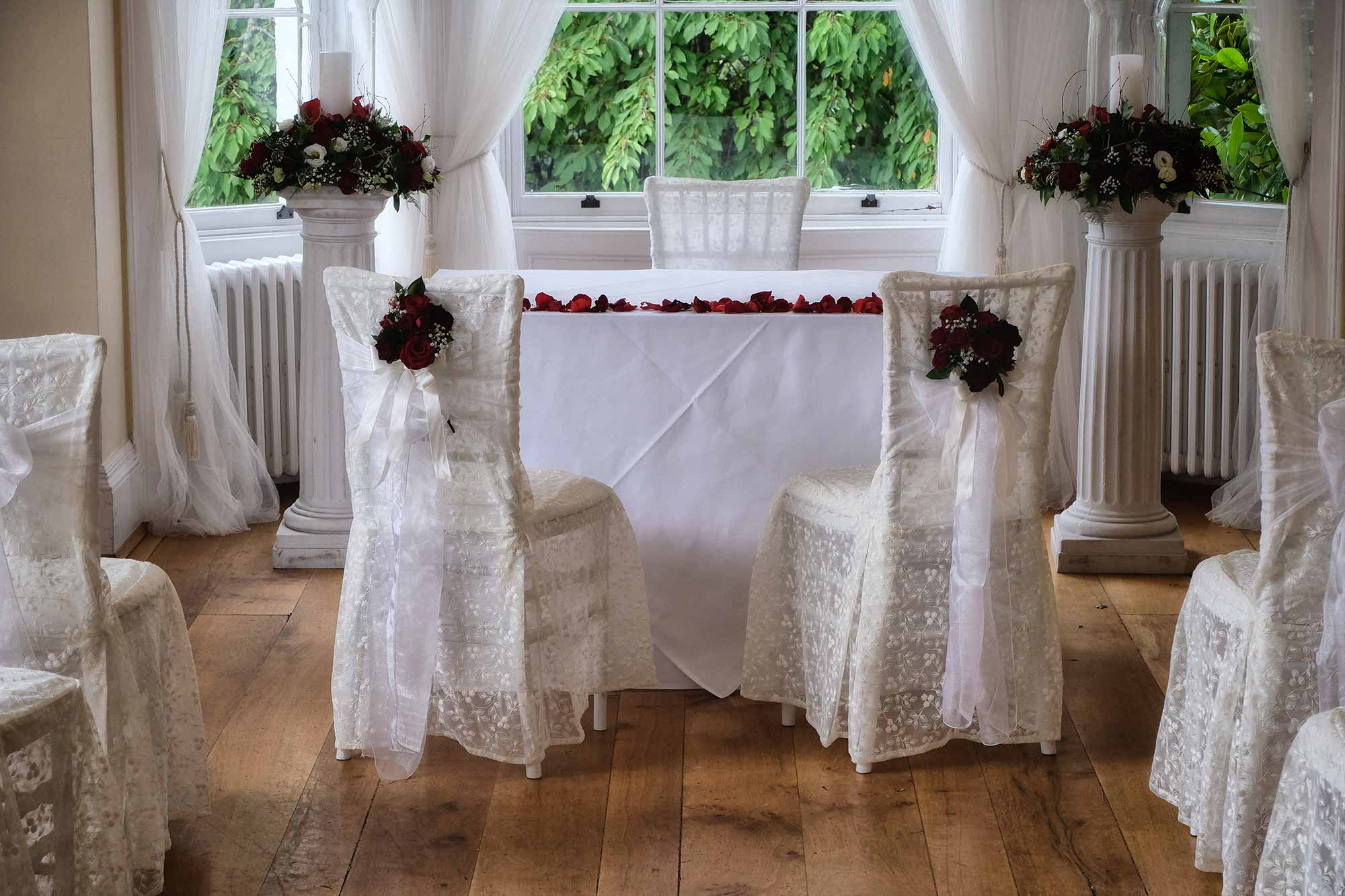 Lace chair covers at Pembroke Lodge