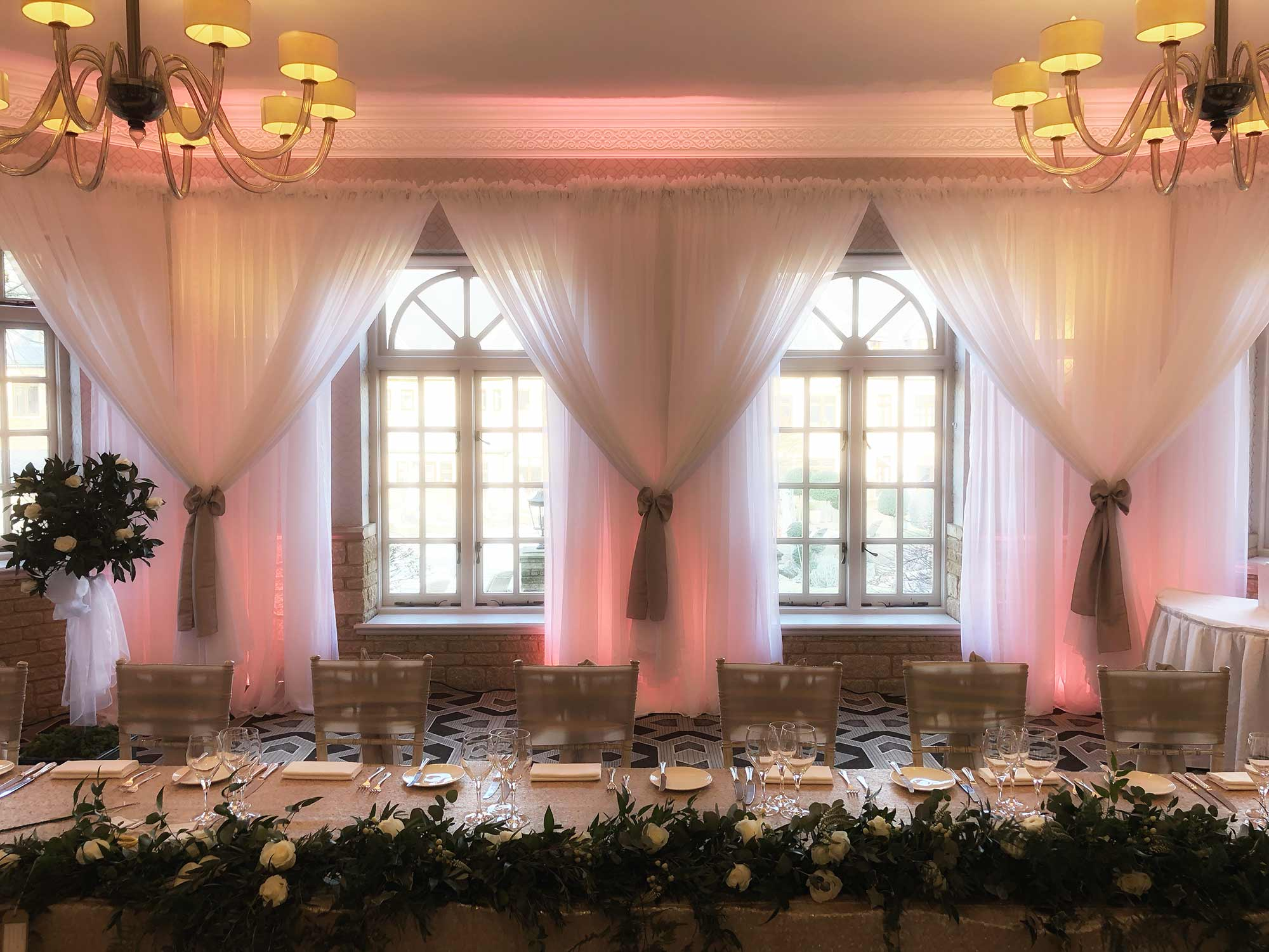Bay window backdrop at Pennyhill Park Hotel